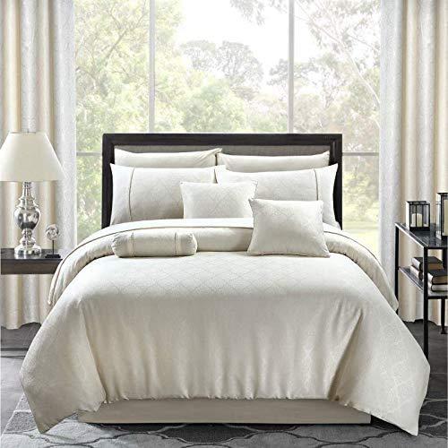Comfy Nights Cotton Enrich Paisley Jacquard Fancy Duvet Cover Set (Cream, Double)