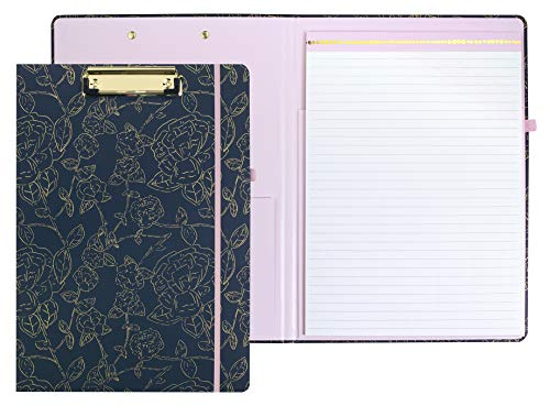 Steel Mill & Co Cute Clipboard Folio with Refillable Lined Notepad and Interior Storage Pocket for Women, Stylish Metallic Gold Floral on Navy Design Clipfolio, Navy Floral