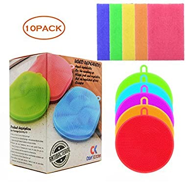 Chief Kitchen Silicone Sponge Antibacterial Kitchen Scrubber-Magic Dish Sponge Scouring pad 10 Pack