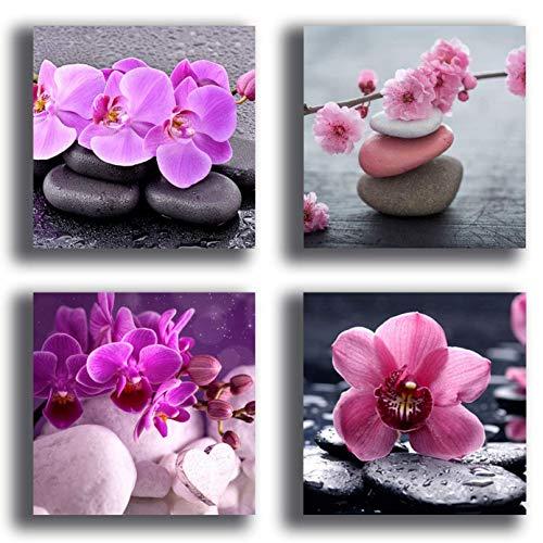 Quadri Moderni FIORI orchidea 4 pezzi 40x40 cm Stampa su Tela CANVAS Arredamento XXL Arredo soggiorno salotto camera da letto cucina ufficio bar ristorante