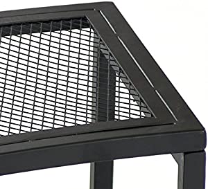 Sunnydaze Fire Pit Bench, Outdoor Patio Seating, Black Mesh - Set of 2