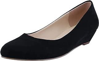 SHOESFEILD Women's Classic Round Toe Wedges Comfortable 1.18 in Low Heels Office Dress Pumps