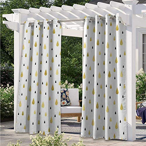Outdoor Patio Curtain Golden Rain Drops Pattern Moisture Condensed from Atmosphere Artsy Print Waterproof Patio Curtains Give You The Privacy You are Seeking Mustard Black White W55 x L72 Inch