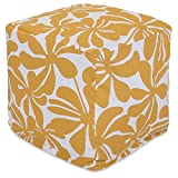 Majestic Home Goods Yellow Plantation Indoor/Outdoor Bean Bag Ottoman Pouf Cube 17' L x 17' W x 17' H