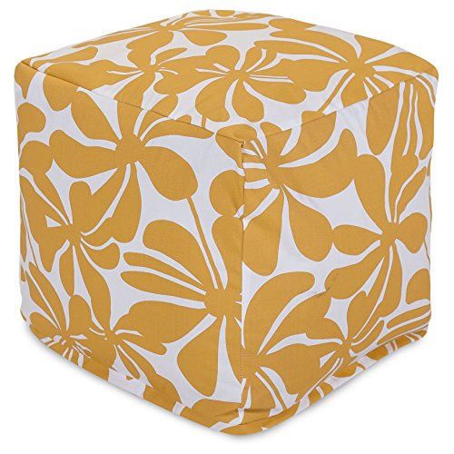"""Majestic Home Goods Yellow Plantation Indoor/Outdoor Bean Bag Ottoman Pouf Cube 17"""" L x 17"""" W x 17"""" H"""