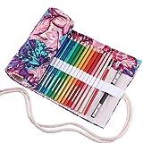 Abaría - Bolso para lápices, Estuche Enrollable para 36 lapices Colores, portalápices de Lona, Bolsa Organizador lápices para Infantil Adulto, Hojas 36