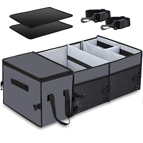 Car Trunk Organizer with Insulation Cooler Bag : Washable-Large Capacity Foldable Multi-Compartments Cargo Storage for SUV, Truck, Minivan & Auto,Vehicle Tools Grocery Organize Box, Grey
