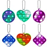 AFLUODN Simple Dimple Fidget Popper 6 Pack Mini Fidget Toys with Keychain Pop Fidgets Toy for Adults Kids Stress Relief Decompression Silicone Sensory Toy