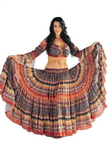 Miss Belly Dance Belly Dancer 25 Yard Skirt and Top Costume Set | Meli du Chant | Orange | One Size