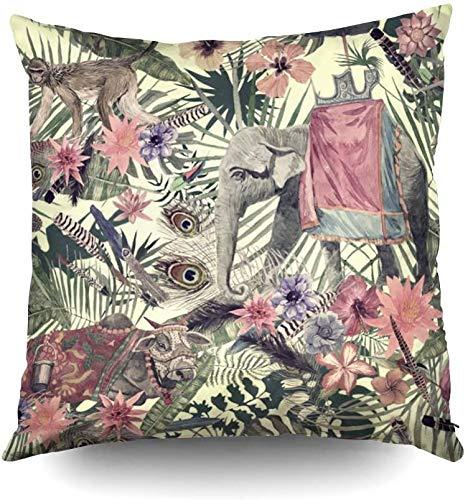 Keyboard cover Fundas de almohada cuadradas estándar, patrón de acuarela vintage con elefante, mono, vaca, flor de plumas, 18 x 18 pulgadas