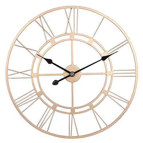 LVPY Wanduhr Vintage, Große Wohnzimmer XXL Antike Wanduhr 60cm Ø aus hochwertigem Metall Uhr Dekoration Wand für Küche Schlafzimmer - Gold