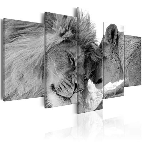 decomonkey Bilder Löwe Afrika 200x100 cm 5 Teilig Leinwandbilder Bild auf Leinwand Wandbild Kunstdruck Wanddeko Wand Wohnzimmer Wanddekoration Deko Tiere Wildlife Natur