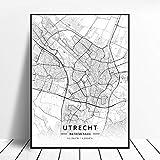 zhuifengshaonian Póster Almere Alkmaar Arnhem Amersfoort Haarlem Utrecht Zwolle Países Bajos Mapa (ZW-1836) Sin Marco Poster 40x60cm