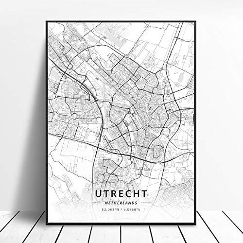 Almere Alkmaar Arnhem Amersfoort Haarlem Utrecht Zwolle Netherlands Map Poster (ZW-1836) Geen frame poster 40x60cm
