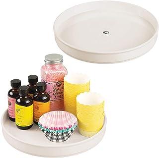mDesign Rangement à épices Rotatif (Lot de 2) – Plateau de Rangement en Plastique et INOX pour épices ou conserves, etc. –...