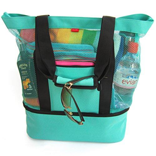 Odyseaco Strandtasche groß mit Reißverschluss und Kühlfach I Badetasche für Strand und Urlaub I Tote Bag extra stabil mit vielen Fächern I Picknicktasche mit Kühltasche