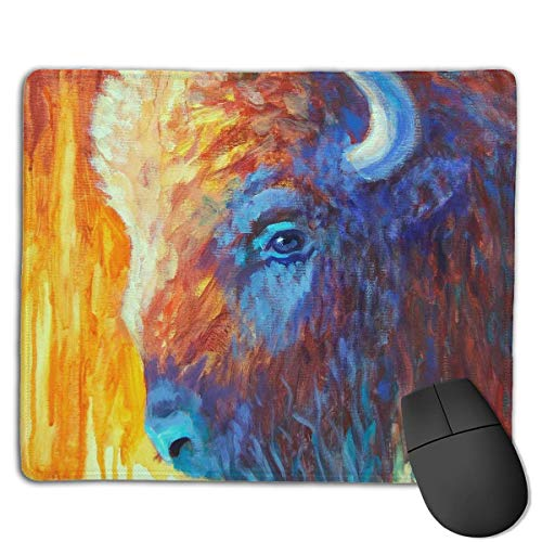 Gaming-Mauspad, Mauspads Cool Buffalo Colorful Painting Rectangle Rubber Mousepad Gaming Mouse Pad 9.8x12 Inch for Notebooks,Desktop Computers