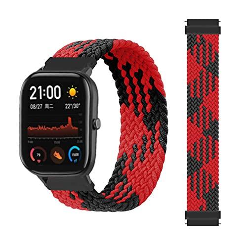 LIANYG Correa De Reloj Banda Trenzada 42 / 46mm Smart Watch Pulsera Smart Watch Correa 493 (Band Color : Black Red, Size : 20mm)