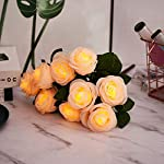 artificial rose flowers lights – 9 pcs rose flowers branch with 4 led lights each rose – prelit artificial flowers 3aa battery-powered, diy for girls room, dinner table, bedroom, floral arrangements