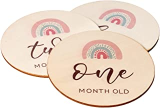 Wooden Baby Milestone Cards/Discs - 14 Double Sided Monthly Props For Taking Pictures of Your Newborn Baby - Unique Gift F...