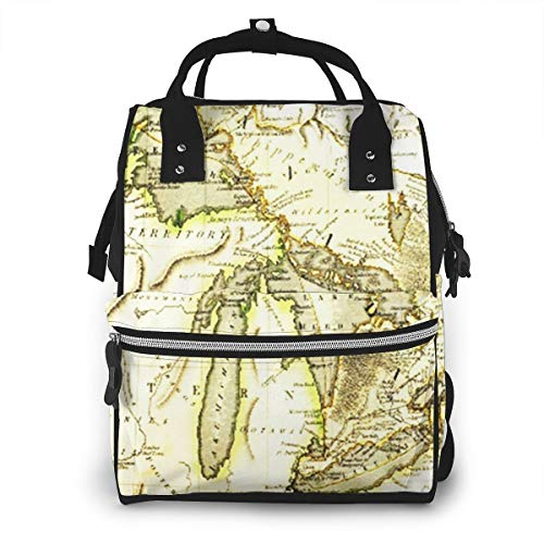 Diaper Bag Changing Nappy Backpack Early Map Great Lakes ed Large Capacity Waterproof Mummy Bag Multi-Function Stylish for Mom Dad Travel with Baby