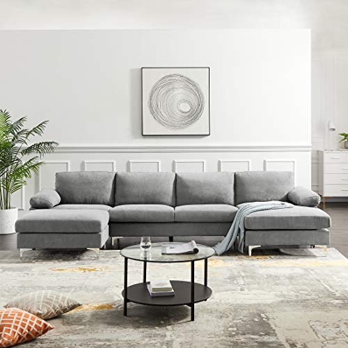 Sectional Sofa w/Chaise and Ottoman,JULYFOX Convertible U Shape Couch 131 inch Oversized Double Extra Wide Chaise Lounge Sofa Mid Century Modern Design,Light Gray