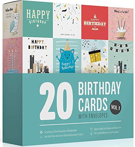 20 Geburtstagskarten Set mit Umschlag Wonder Cards | Ökologisch | Vegan | Glückwunschkarten | Für Frauen Männer und Kinder