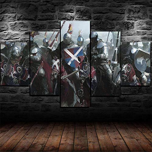 GSDFSD Composición de 5 Cuadros de Madera para Pared - Armadura de caballería de Caballeros Medievales - Cuadros Dormitorios Modernos - Listo para Colgar - 100 * 50 cm