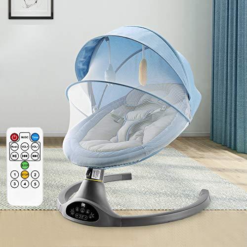 Silla Mecedora eléctrica Rocker Baby con Mando a Distancia,Bluetooth USB Música Silla para bebé,Oscilación de Cinco velocidades, sincronización de Tres velocidades,Blue