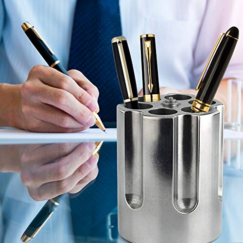 Product Image 12: Barbuzzo Gun Cylinder Pen Holder & Paper Weight, Silver- Lock & Load Your Favorite Pens and Pencils at your Office Desk – The Perfect Office Accessory & Gift – Made Out of Heavy Duty Cast Aluminum