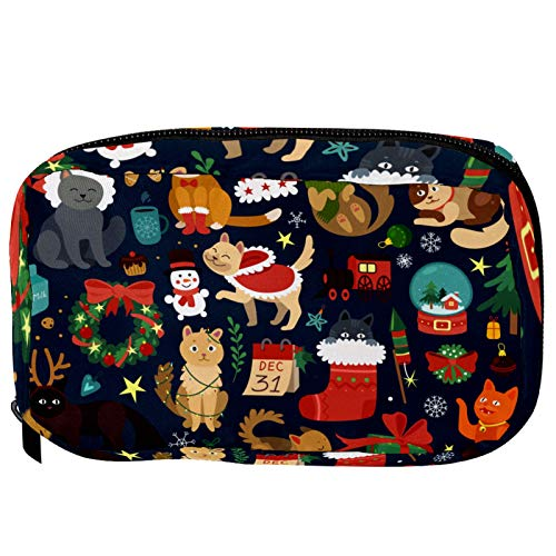 Cosmetic Bags Cute Cartoon Animal Forest Chrismats Cats Handy Toiletry Travel Bag Oragniser Makeup Pouch for Women Girls