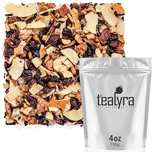 Tealyra - Crushed Cherry Colada - Pineapple - Hibiscus - Coconut - Fruity Herbal Loose Tea - Caffeine Free - Hot or Iced - 112g (4-ounce)