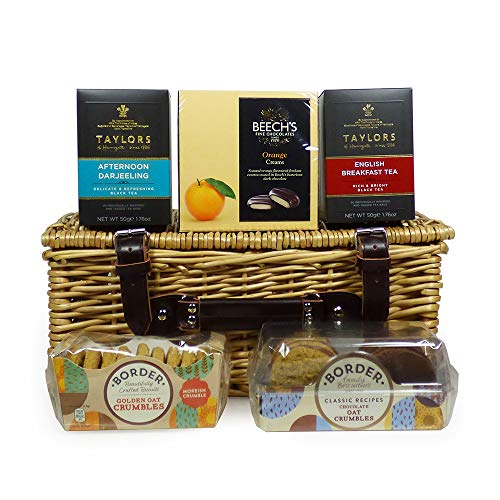 Deluxe Tea and Biscuits Hamper Presented in a Traditional Wicker Gift Basket - Gift Ideas for Valentines, Mothers Day, Birthday, Anniversary, Business and Corporate, Christmas