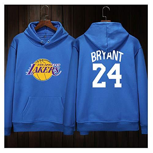 Mamba Negra para Siempre!Kobe 24# Los Angeles Series Blue Men's Respirable Basket Ballball Hoodie Kobe's First Anniversary Fans Sudadera conmemorativa-LQY-C1371 (Color : Blue, Size : XXL)