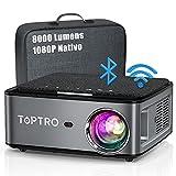 TOPTRO 5G Proiettore WiFi Bluetooth 8000 Lumens con Custodia da Trasporto, Proiettore 1080P Nativo Aggiornato, Supporto 4D Keystone / Zoom / 4K, Compatibile con Telefono / TV Stick / PC / USB / PS4