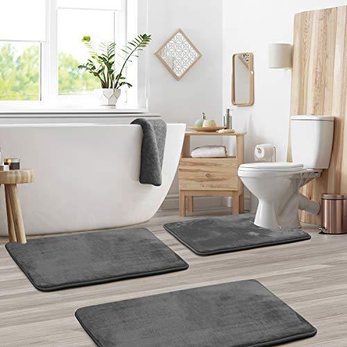 Clara Clark Memory Foam Bath Mat Ultra Soft Non Slip and Absorbent Bathroom Rug, Set of 3 - Small/Large/Contour - Grey