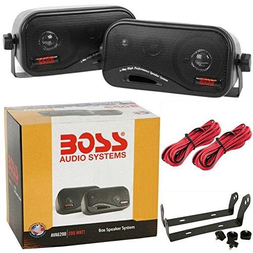 2 BOSS AUDIO SYSTEM AVA6200 AVA 6200 casse nere bass reflex 18,50 cm a 3 vie 100 watt rms 200 watt max per interni auto casa locali commerciali, a coppia