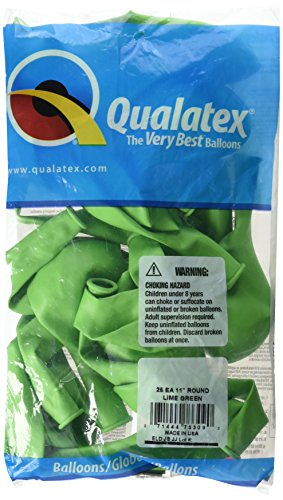 """Pioneer Balloon Company Round Solid Latex Balloons, 11"""", Lime Green"""