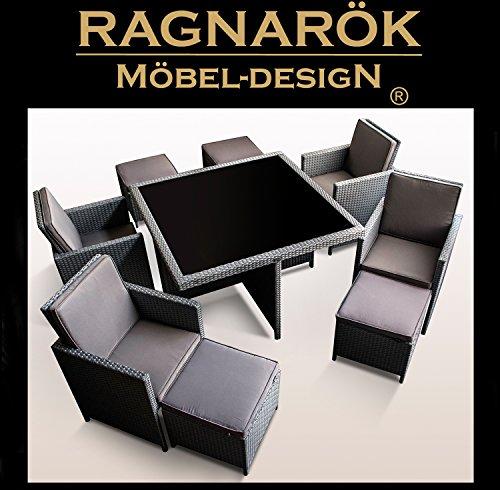 Ragnarök-Möbeldesign PolyRattan - DEUTSCHE Marke - EIGNENE Produktion - 8 Jahre GARANTIE auf UV-Beständigkeit Gartenmöbel Essgruppe Tisch + 4 Stühle & 4 Hocker 12 Polster Platinum Grau - 6