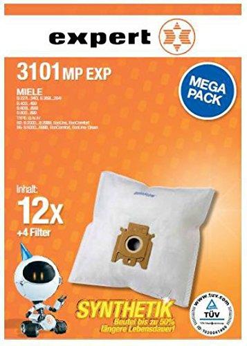 Expert 3101 MP EXP Staubbeutel Megapack 12 Beutel + 4 Filter für u.a. Miele