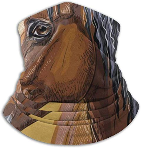 YJWLO Kleurrijke Hand Tekening Paard Ademende Winddichte Nek Warmer Anti-Stofsporen Mond Gezicht Cover Nek Gaiter Voor Outdoor