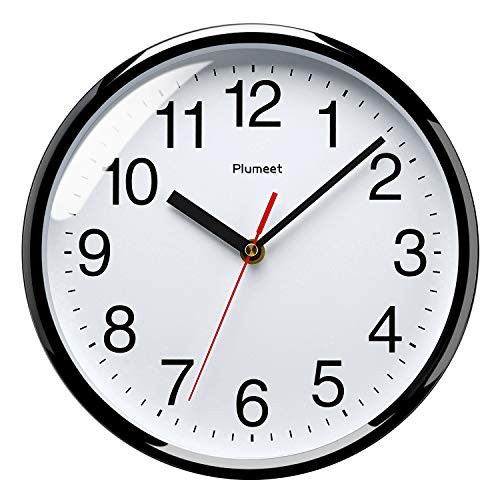 Plumeet 25.4cm Orologio da Muro Silenzioso con Numero Grandi E Graziosi e Movimento Digitale Senza Ticchettio, Orologi da Parete Design Moderno Ottimo per la Camera da Letto e la Cucina (Nero)