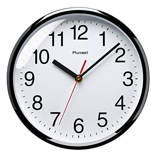 Plumeet 255 mm Reloj Negro de Cuarzo de Pared silencioso, Decorativo p