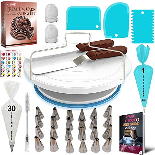Cake Decorating Equipment Kit with Cake Turntable Rotating Stand- 24 Numbered Piping Tips & bags with Pattern Chart &eBook-Offset Spatula-Icing Scraper Set- Baking Accessories & Decorations Tools