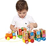 XIAPIA Trenes de Juguete Juguetes Montessori Juegos Educativos Brio Tren Madera con Bloques ABC...