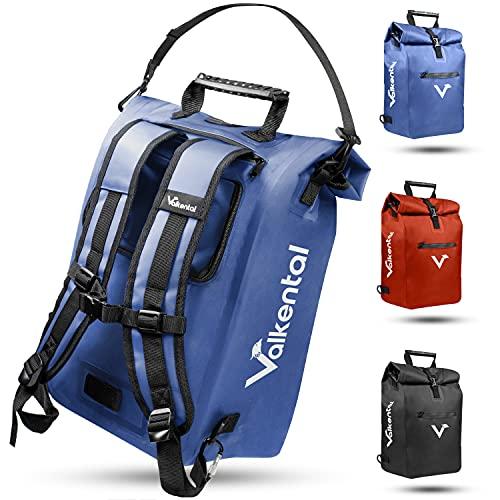 Valkental - 3in1 Fahrradtasche - Geeignet als Gepäckträgertasche, Rucksack und Umhängetasche - Wasserdicht & Reflektierend in Blau (23L)