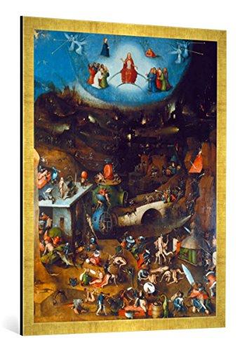 Gerahmtes Bild von Hieronymus Bosch Weltgerichts -Triptychon. Mitteltafel, Kunstdruck im hochwertigen handgefertigten Bilder-Rahmen, 70x100 cm, Gold Raya
