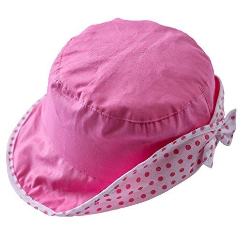 Bigood Chapeau Souple bébé Fille Coton Bonnet Soleil Nœud de Papillon Respirant Eté Tour de Tête 52cm