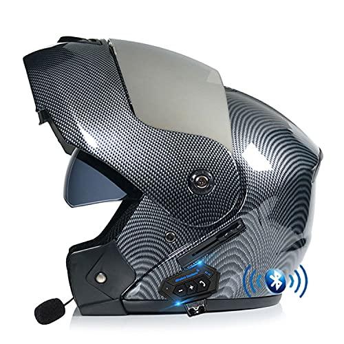 Casco de Moto Modular Bluetooth Integrado Cascos Flip Up Motocicleta con Doble Anti Niebla Visera Cascos de Motocicleta ECE Homologado a Prueba de Viento para Adultos Hombres Mujeres (Color:B,Size:XL=