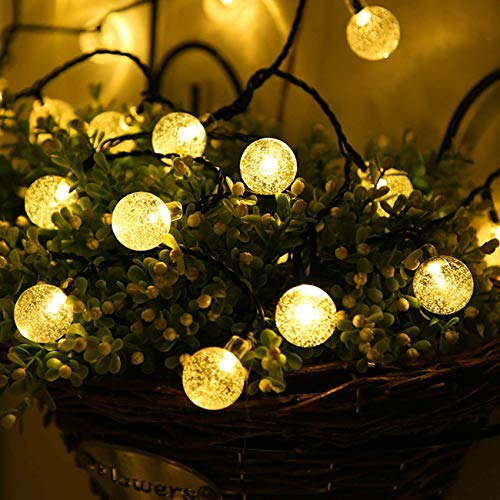 2Pcs Globe String Lights,Battery Operated Ball String Lights Water Proof 10 FT 20 LED Crystal Ball String Lights 2 Modes,Indoor Outdoor LED Fairy Lights for Home, Christmas, Party Patio, Warm White
